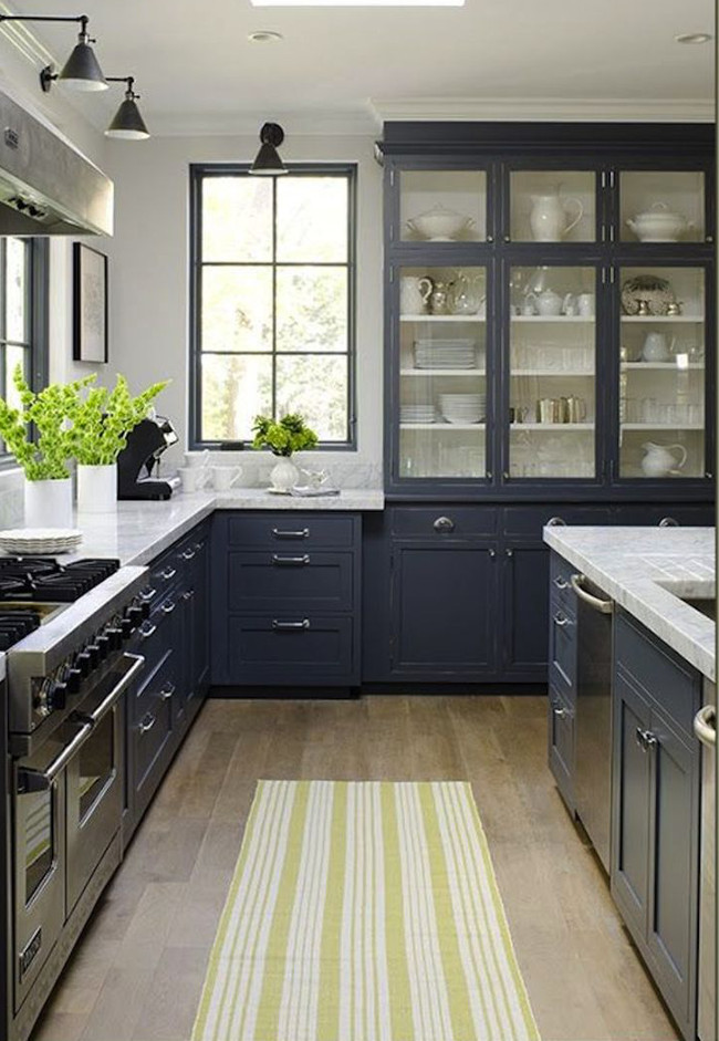 Dark Gray Kitchen With Carrara Marble Counters And Wood Floor Jeanne Rapone Via Atticmag