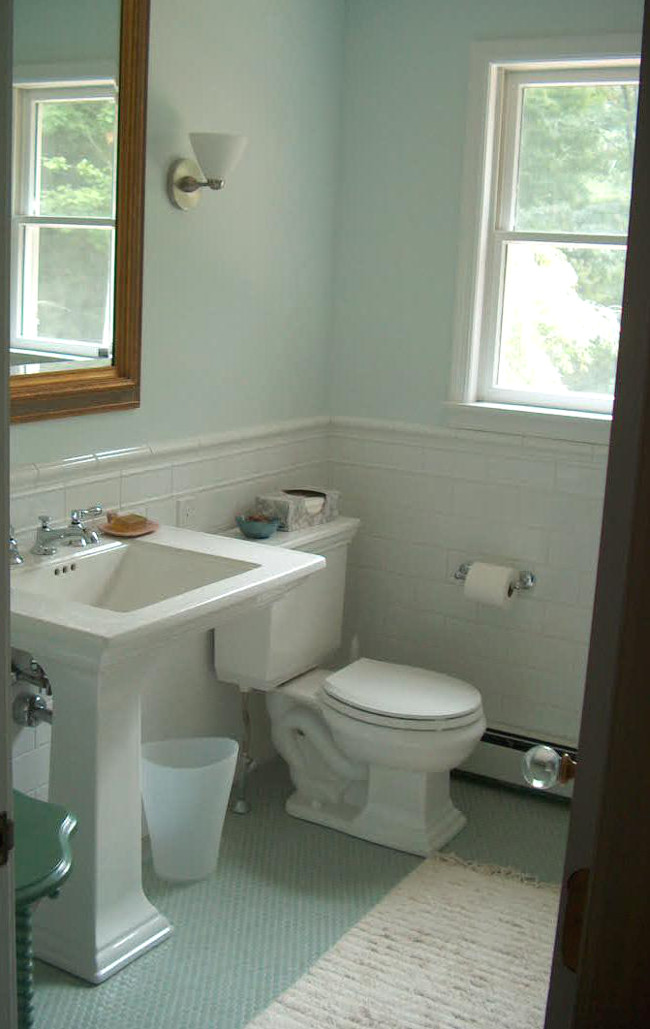 Seafoam Guest Bath   View Of The Kohler Memoirs Stately Suite And White  Tile Wainscot   Pedestal Sinks ...