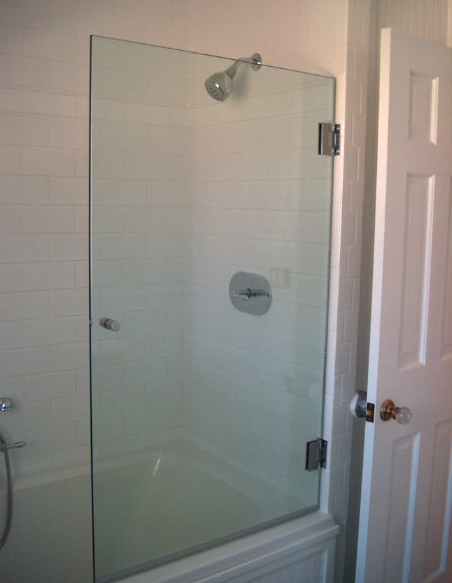 seafoam bath - white Adex subway tile enclosed Ultra Bain air jet tub with swing away glass shower guard - Atticmag