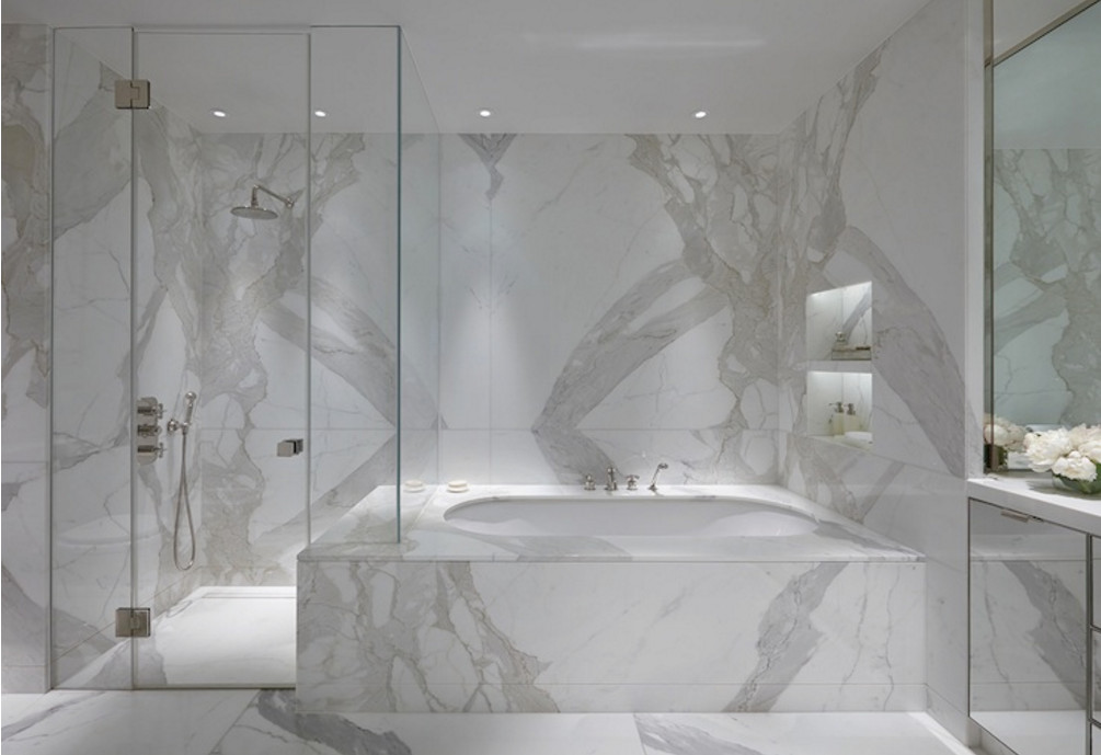 White marble bathrooms are a popular high end look. And no two are exactly  alike.