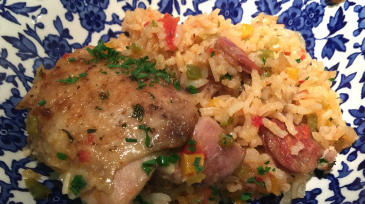 arroz con pollo - baked chicken with Spanish style rice and chorizo - Atticmag