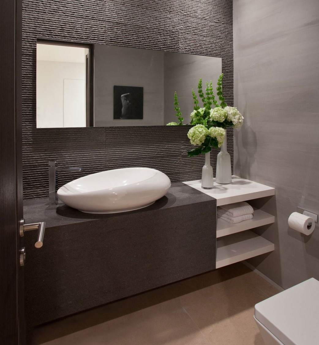 Lovely modern powder room sinks white scooped out ceramic vessel sink on a dark brown vanity