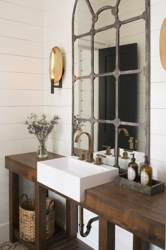 rustic bathroom lighting sconces bath memorable modern powder room sinks zero radius white ceramic sink in a wood console palmetto another clever mix of