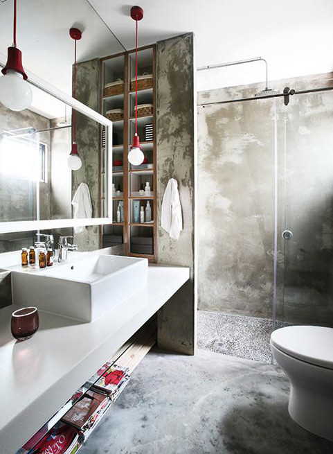 square vessel sinks - an industrial bathroom has a square vessel sink with integral deck installed on a white counter in an eclectic bath with textured walls - pinterest via atticmag