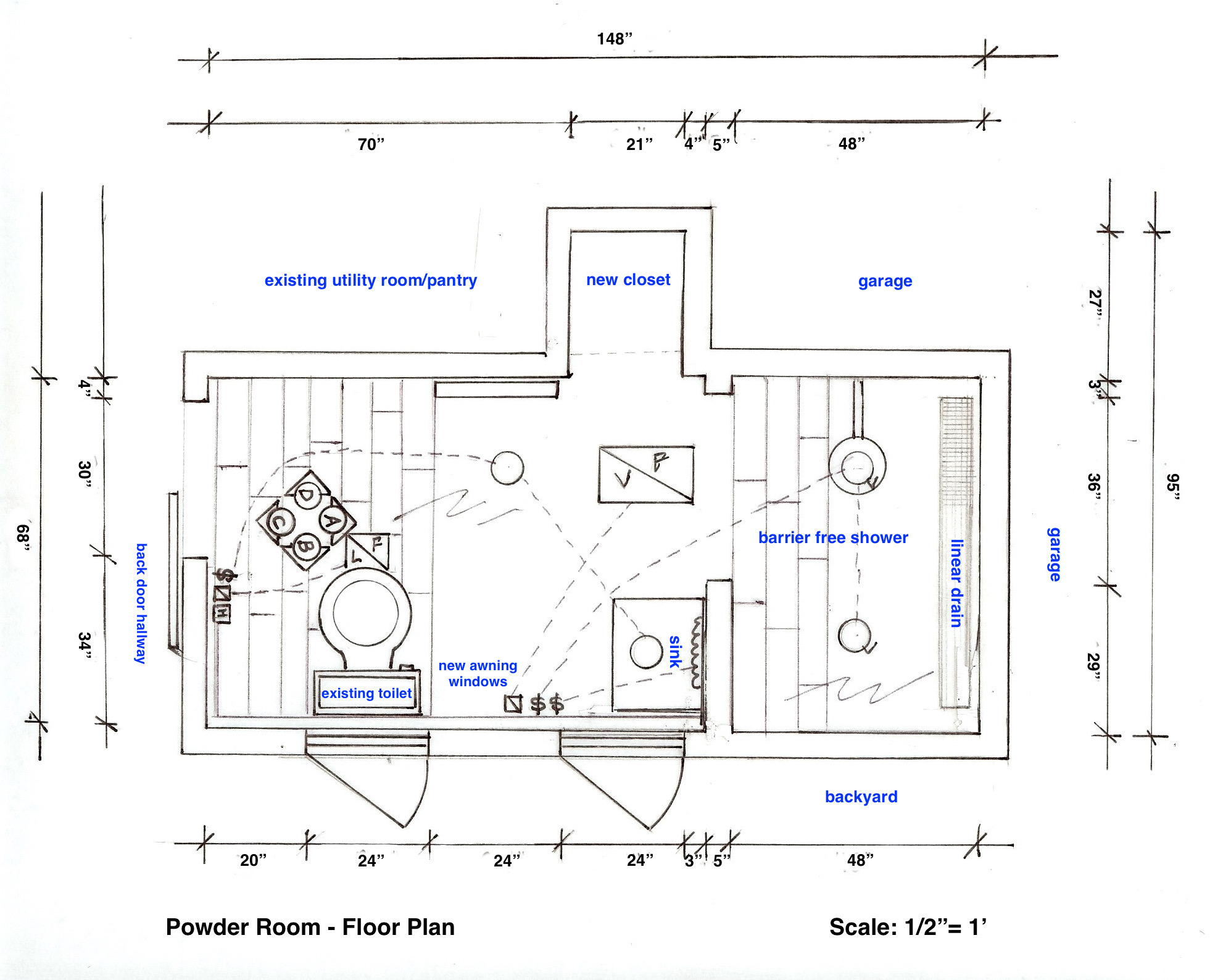 Powder Room   Floor Plan For The Powder Room Expansion   Atticmag