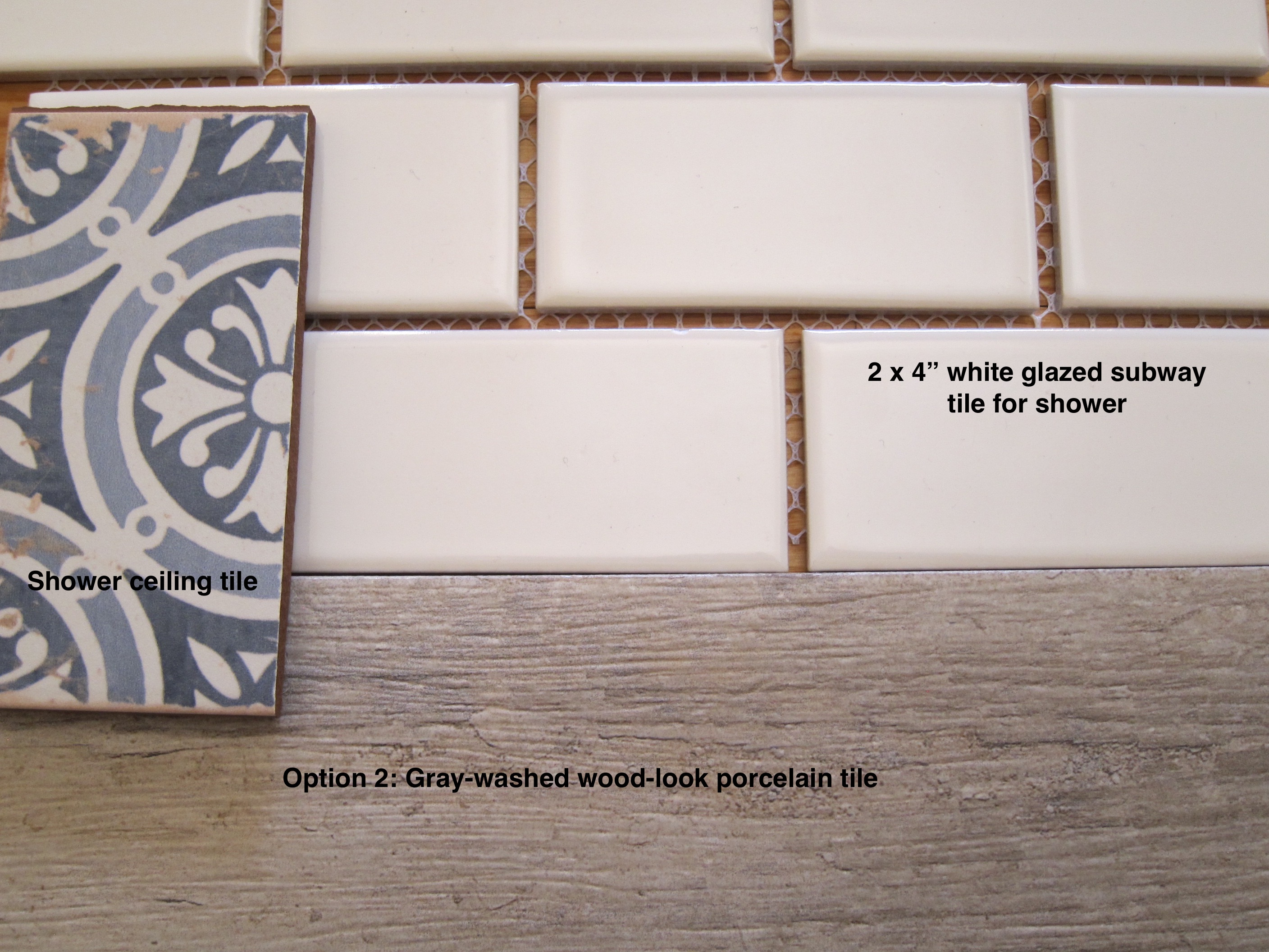 Powder room expansion project atticmag powder room tile options include mediterranean pattern ceiling tile 2 x 4 inch subway dailygadgetfo Gallery