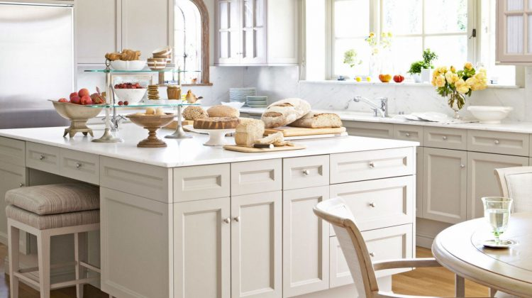 pale neutral kitchens - A Barbara Barry kitchen with cabinets changed from white to Farrow & Ball's Light Stone - House Beautiful via Atticmag