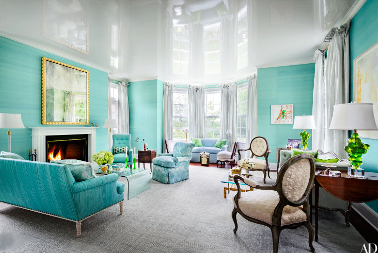 high gloss ceilings - white lacquer look ceiling in a Kentucky mansion redone with Tiffany blue walls by Todd Klein - AD via Atticmag