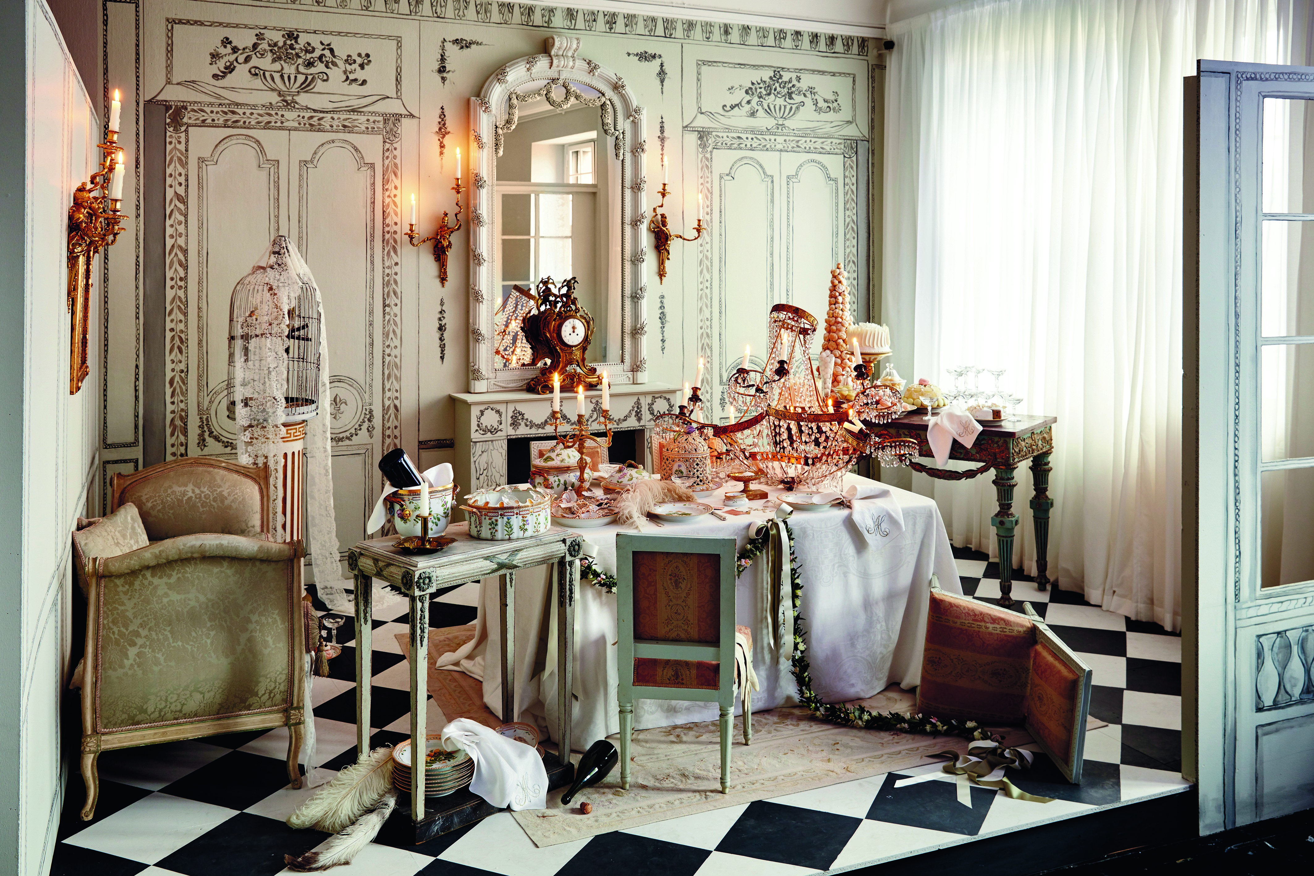 fashionable Christmas - an 18th Century French fantasy vignette and Christmas table by Ole Yde features Flora Danica porcelain and French furniture - Royal Copenhagen via Atticmag