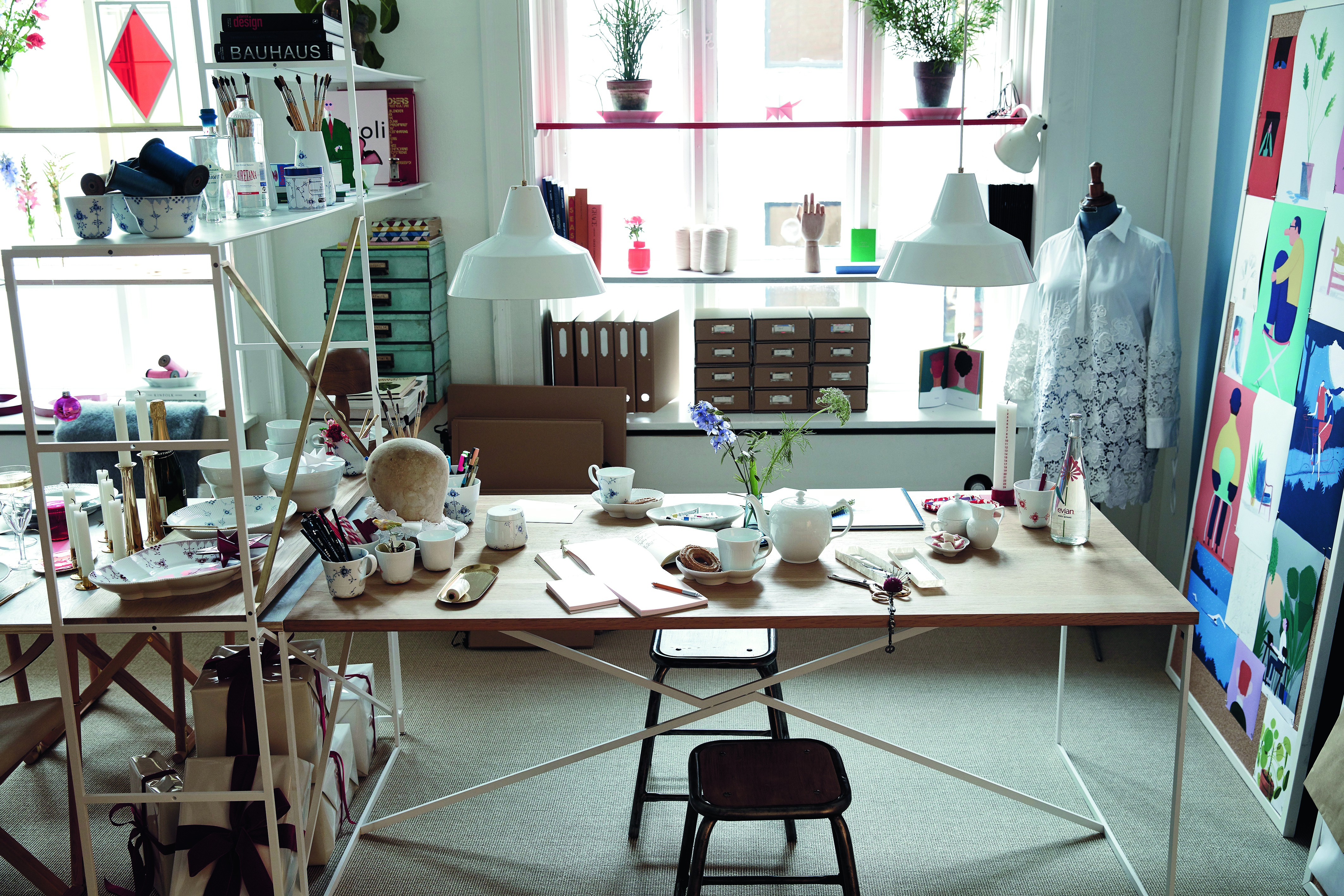 fashionable Christmas - Christmas in the atelier is Cecilie Bahnsen's holiday and work combination fantasy uses White Flute Half Lace China with Elements pieces for every day and a special occasion - Royal Copenhagen via Atticmag
