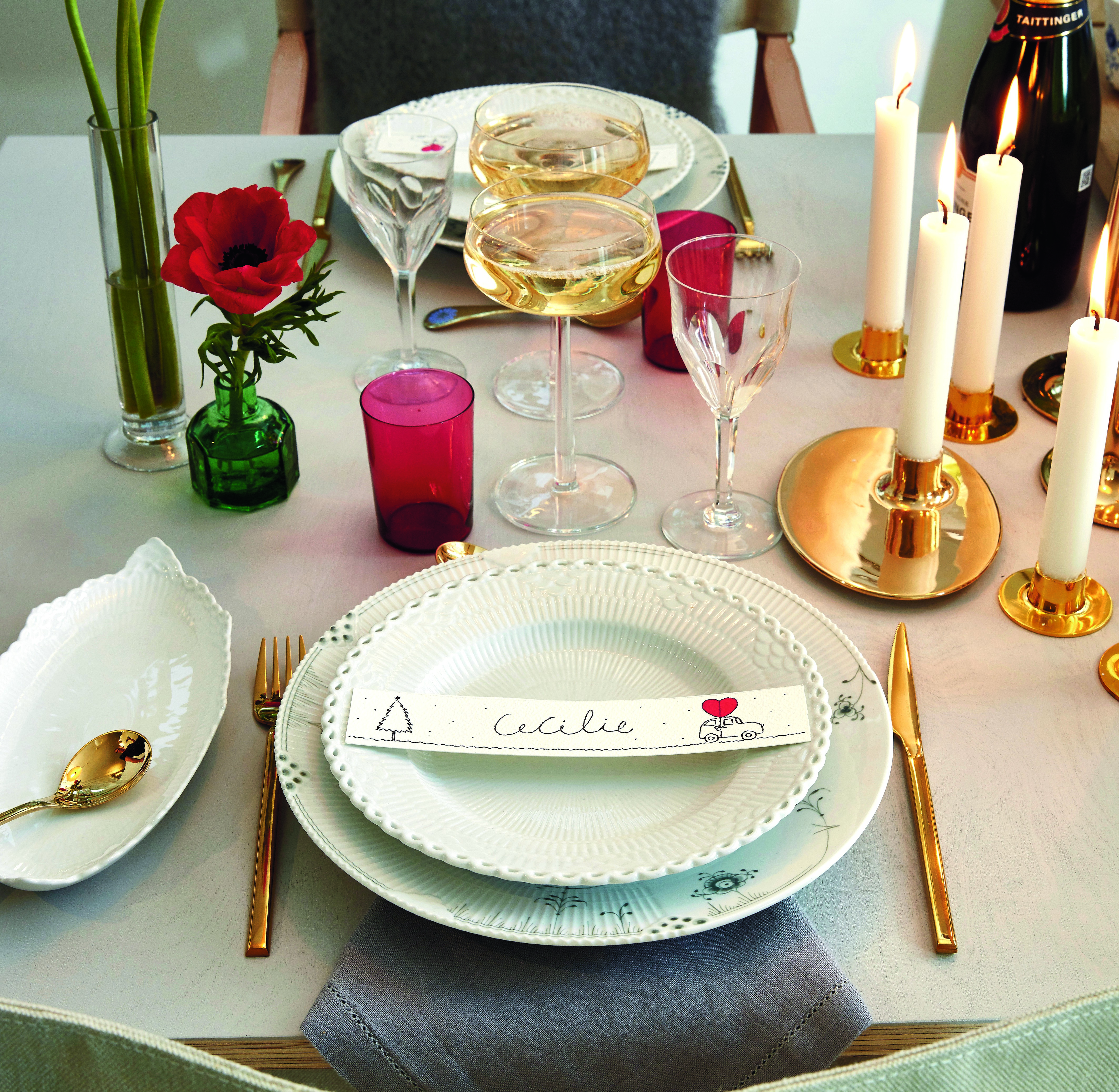 fashionable Christmas - Christmas in the atelier is Cecilie Bahnsen's holiday and work combination fantasy using White Flute Half Lace China with pieces from the Elements collection - Royal Copenhagen via Atticmag