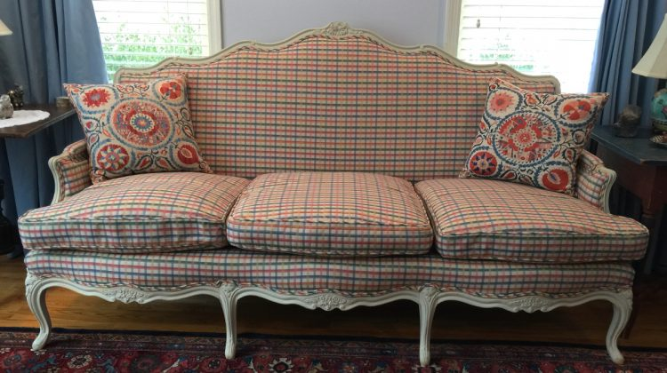 statement sofa - vintage Swedish framed sofa with plaid upholstery - Atticmag.com