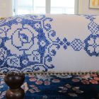 Vintage Tablecloth to Ottoman Cover