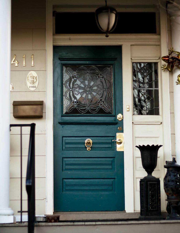 teal front door - pinterest via Atticmag