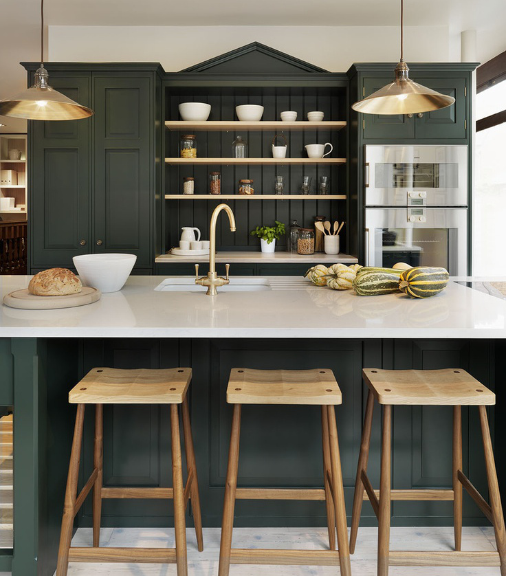 dark green kitchens teddy edwards brooklands kitchen teddy edwards via atticmag - Green Kitchen Cabinets