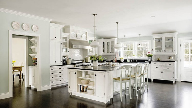 "black-and-white classic kitchen patterned after the ""Something's Gotta Give"" movie kitchen - new old house mag via atticmag"