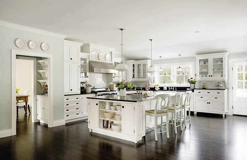 black and white classic kitchen patterned after the Something's Gotta Give movie kitchen - new old house mag via atticmag