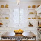 pastry table - white kitchen with open shelving and a French pastry table - via Atticmag