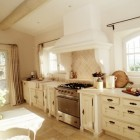 white and stone French country kitchen in Provence - via Atticmag