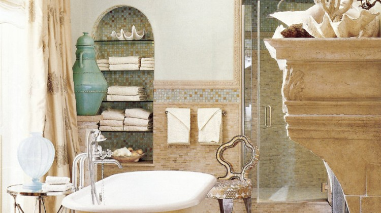 manor house bathroom - traditional Roman style bath with freestanding tub by Barry Dixon - Veranda via Atticmag