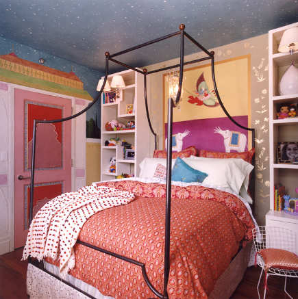 rooms for kids - girls room with custom wall and ceiling graphics by Robert Passal via Atticmag