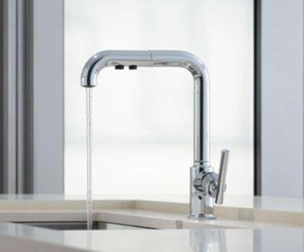 stainless drop in sinks - Kohler purist faucet - Kohler via Atticmag