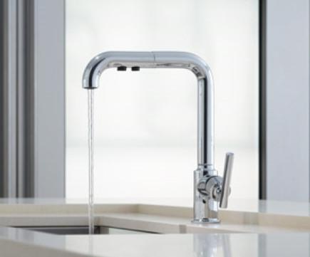 stainless drop in sinks - Kohler purist faucet - Kohler via Atticmag
