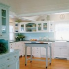 seaglass blue - white and blue kitchen with green counters - Hutker Architects via Atticmag