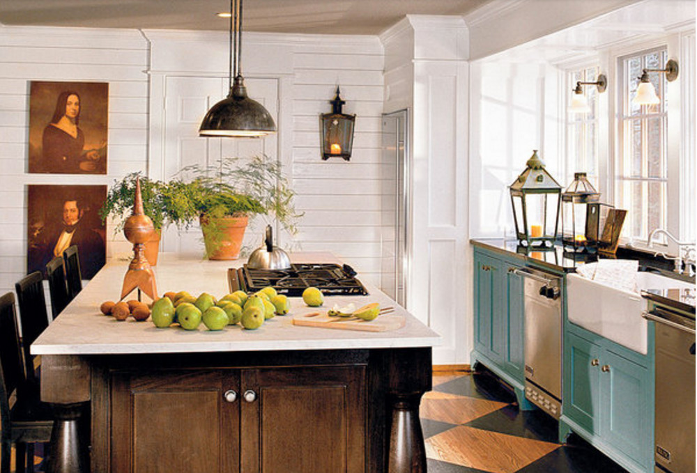 checkerboard floor - cottage kitchen with oak and black checkerboard floor - Southern Living via Atticmag