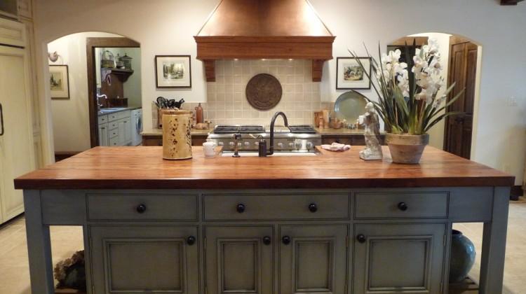 French gray island kitchen in Alabama stone cottage - Atticmag