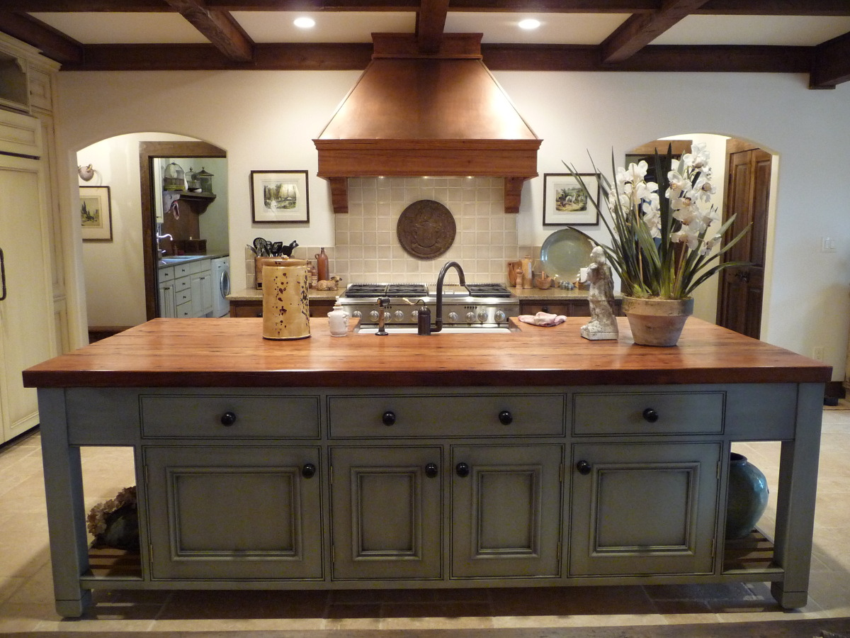 French Gray Island Kitchen - French grey kitchen cabinets