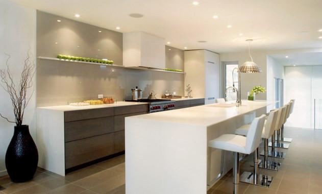 Appliances Are Downplayed In This Award Winning White Minimalist Kitchen.