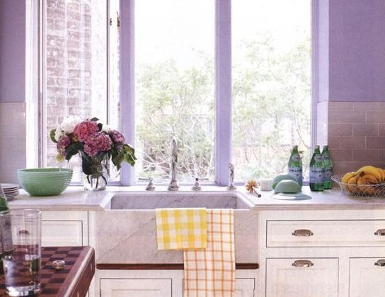 lavender subway tile - Lavender subway tiles in a white Christopher Peacock kitchen - via Atticmag