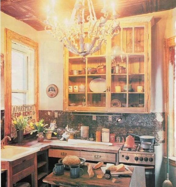 tin backsplash - NYC kitchen built from salvage materials - NY Mag via Atticmag