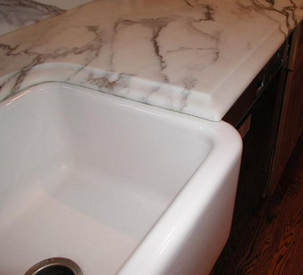 top detail of bumped out farm sink - Atticmag