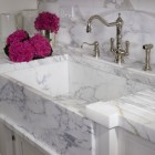 marble farm sinks - panel front marble farm sink with runnels - St. Charles of New York via Atticmag