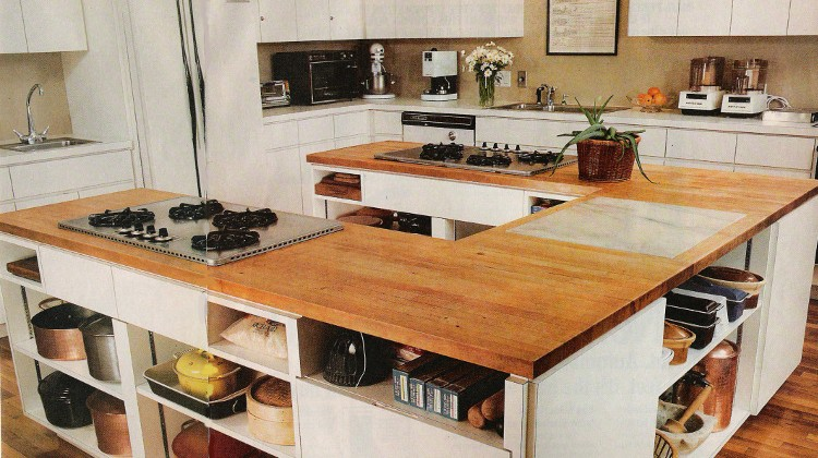 James Beard - 1970s white custom cooking school kitchen with u-shaped island in the style of James Beard's - Atticmag