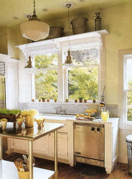 white old-house kitchen with marble backsplash and industrial work table - via Atticmag