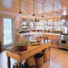 corner farm sink - natural wood kitchen with farm sink in a corner - hutker architects via atticmag