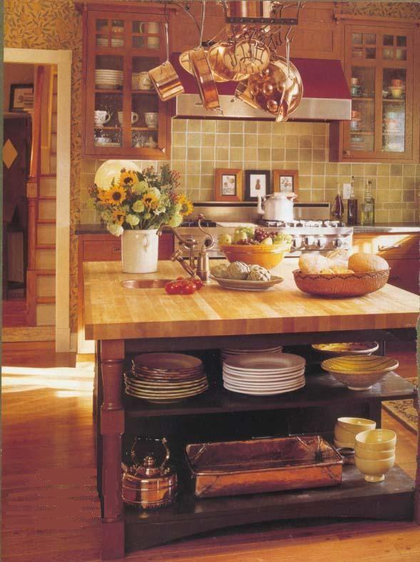 Craftsman kitchen with country elements in the island - Country Kitchen Ideas via Atticmag