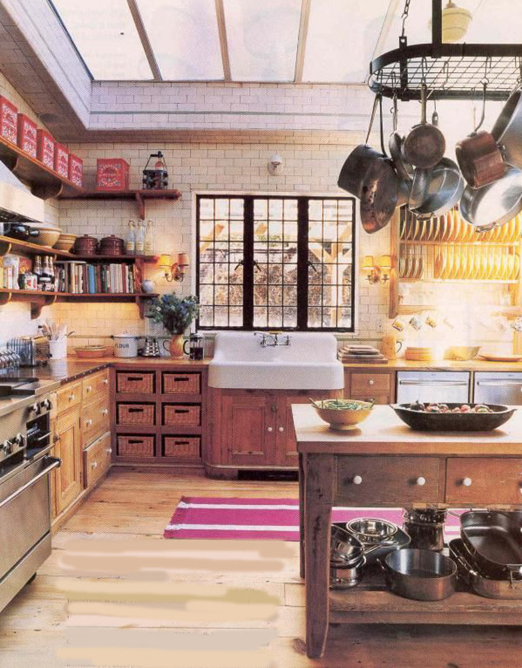 Brian McNally's Greenwich Village wood kitchen with vintage and salvage features - NY Mag via Atticmag