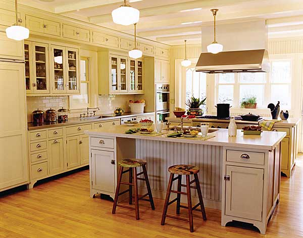 yellow, double island Victorian style Crown Point kitchen - via Atticmag