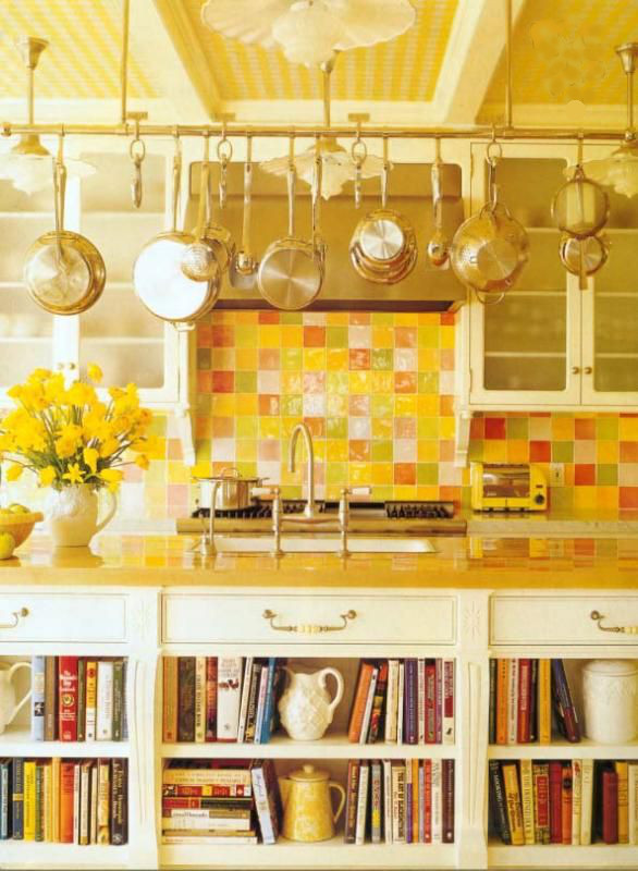 yellow tile - kitchen with yellow checkerboard tile on walls and ceiling - gardenweb via Atticmag