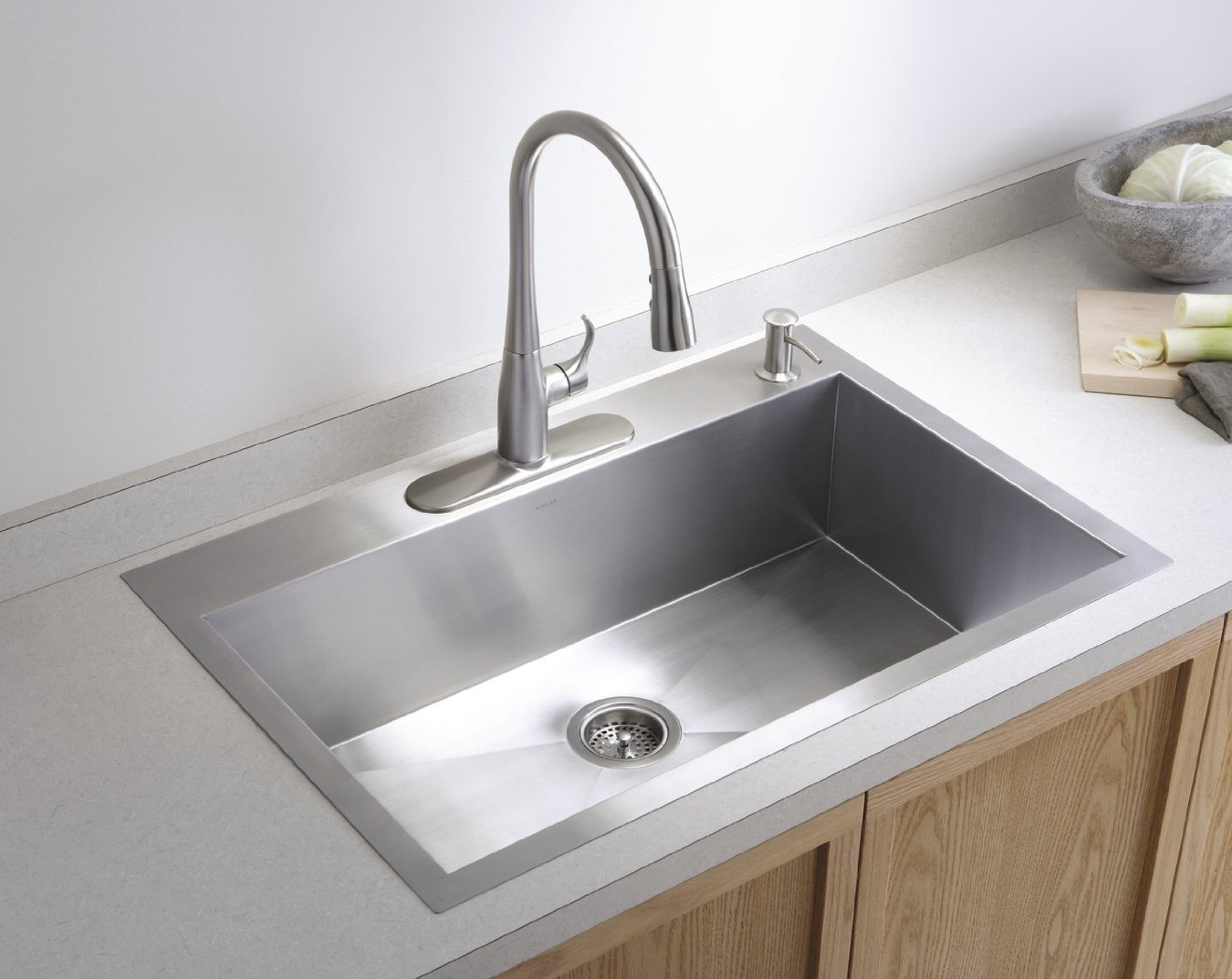 Drop In Sinks   Minimalist Stainless Kohler Vault Drop In Sink   Kohler Via  Atticmag
