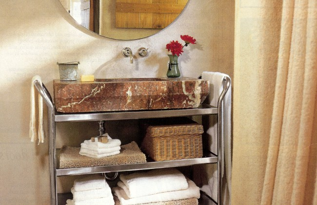 vintage marble sink - antique marble sink with stainless steel utility cart vanity - Renovation Style via Atticmag