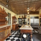 new kitchen in historic Yonkers,NY mansion with island made from an old piano - greystonecourt via Atticmag