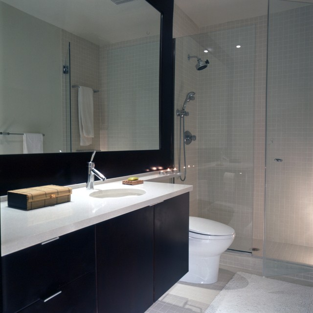 glass partition bath - bath with spa style large glassed in shower - Forma Design via Atticmag