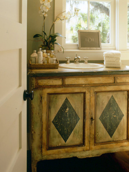 antique chest vanity - painted antique chest converted to bathroom sink vanity - Coastal Living via Atticmag