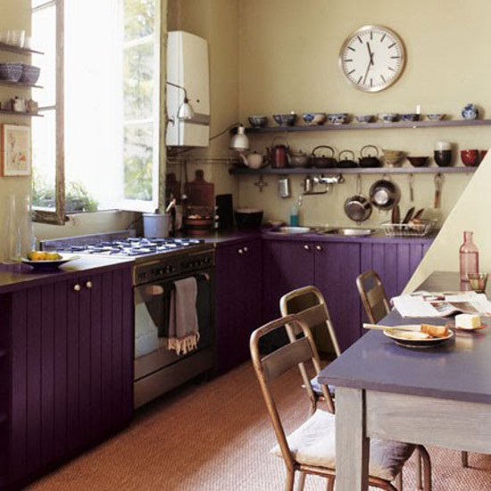 purple cabinet kitchen - Parisian loft kitchen with purple cabinets and cream walls - Marie Claire Maison via Atticmag