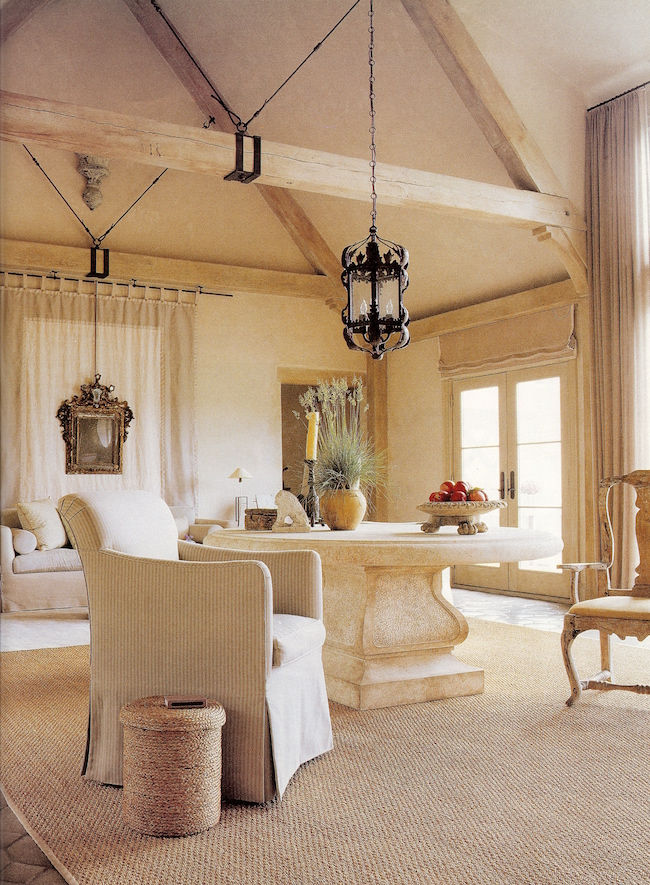 artistic drapery in a monochromatic Long Island living room by Jose Solis Betancourt - Hampton Cottages & Gardens via Atticmag